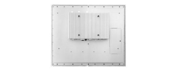 Panel PC mit 17 Zoll XGA Display, lüfterlose CPU und resistiven oder projected capacitven (pcap) Touchscreen Rückseite Edelstahl