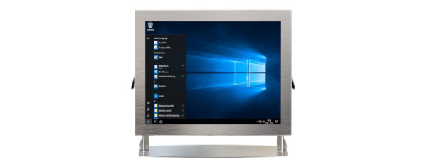 IP66 Industrial all in one Edelstahl PC mit 15 Zoll XGA Display, lüfterlose Kabylake CPU und projected capacitven (pcap) Touchscreen - Front mit Halter
