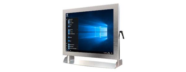 IP66 Industrial all in one Edelstahl PC mit 15 Zoll XGA Display, lüfterlose Kabylake CPU und projected capacitven (pcap) Touchscreen - mit Halter