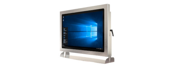IP66 Industrial all in one Edelstahl PC mit 21,5 Zoll Full-HD Display, lüfterlose Kabylake CPU und projected capacitven (pcap) Touchscreen mit Halter