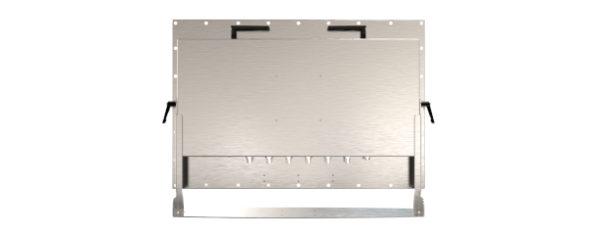 IP66 Industrial all in one Edelstahl PC mit 21,5 Zoll Full-HD Display, lüfterlose Kabylake CPU und projected capacitven (pcap) Touchscreen mit Halter Rückansicht